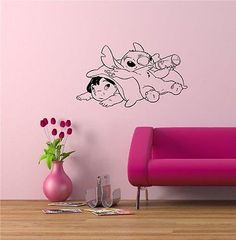 Lilo and Stitch Cartoon Wall Art Sticker Decal Lilo E Stitch, Stitch Cartoon, Disney Stitch, Gold Bedroom Decor, Bedroom Ideas, Teen Bedroom, Baby Boy Rooms, Baby Room, Kids Rooms