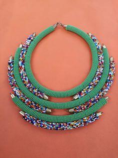 Beaded necklace,maasai beads,green masai jewellery ,maasai necklace,unique necklaces,Africa necklace Masai Jewelry, Rope Jewelry, Beaded Jewelry, Beaded Necklace, Africa Necklace, African Shop, Beaded Anklets, African Jewelry, Ankle Bracelets