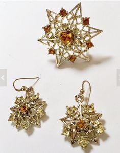 Smoke Grey and Crystal Glass Rhinestone Pin Vintage Jewel Crest Floral Rhinestone  Brooch Australian Mid Century Collectable Jewellery