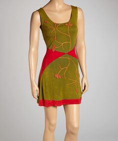 red angle and vine dress