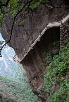 Huangshan Yellow Mountains in China. One of the dangerous paths to take.