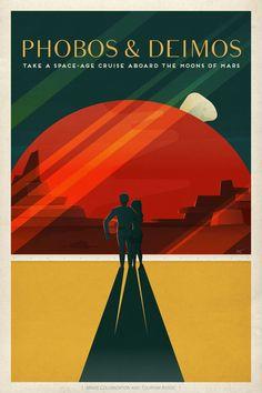 Phobos Deimos Mars Travel Poster