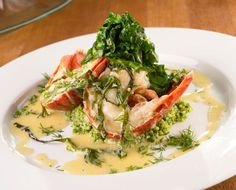 Boiled lobster in champagne butter