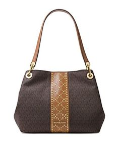 465f7c4dc2d9 Michael Kors Raven Large Leather Shoulder Bag - Acorn  Handbags   Amazon.com. Another great find on Brown Signature ...