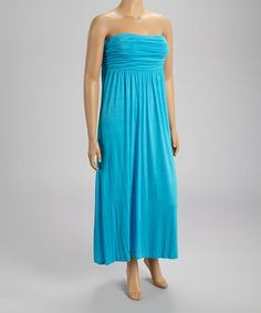 Another great find on #zulily! Blue Ruched Maxi Dress - Plus by Poliana Plus #zulilyfinds