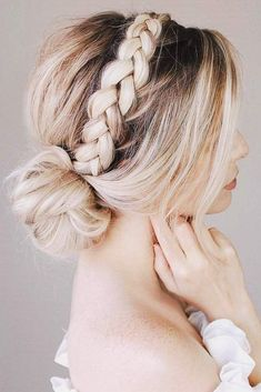 An Elegant Headband Into A Bun ❤️ A headband braid, also known as a crown or a halo braid, is a cute half updo or updo hairstyle with a braid around a head. And as for the type of a braid involved, any braid would do here. Make a choice based on your taste. ❤️ See more: http://lovehairstyles.com/cute-headband-braid-hairstyles/ #lovehairstyles #hair #hairstyles #haircuts #headbandbraid #braids