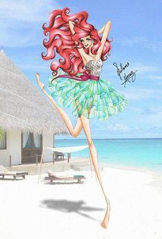 Disney Princess Summer Collection 2015 by Guillermo Meraz - Ariel Disney Princess Fashion, Disney Princess Art, Disney Princess Dresses, Disney Fan Art, Disney Style, Disney Fashion, Mermaid Disney, Ariel The Little Mermaid, Moda Disney
