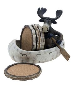 Found it at Wayfair - 5 Piece Moose and Canoe Ceramic Coaster Gift Set Country Living Decor, Moose Lodge, Moose Decor, Moose Art, Coaster Crafts, Lake Cabins, Ceramic Coasters, Reno, Cabins In The Woods
