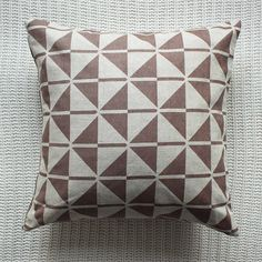 Patterned Linen Cushion Cover In Beige