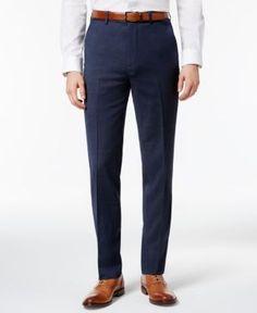 Ben Sherman Men's Slim-Fit Blue Solid Suit Pants - Blue 36x30