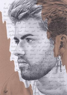 George Michael Portrait Drawing with Careless Whisper lyrics