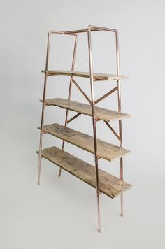 Large 4 shelf tapered copper pipe and reclaimed wood free-standing unit                                                                                                                                                                                 More