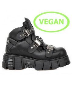 New Rock M.NEWMILI084-S1 Black Gothic Boots Military Unisex 8 Eyelet Shoes