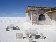 Salt Hotel  The world's only hotel made of salt is located in Bolivia, near the famous Uyuni salt desert. This outstanding complex emerged in 1993 and since then, it has been attracting a considerable number of tourists willing to stay in this one of a kind hotel, whose roof, beds, chairs, tables and bar are made entirely of salt.