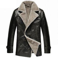 Mens Classics Black Fur Shearling Sheepskin Coat Double Breasted