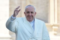 Pope Francis waves to the crowd as he arrives in St Peter's square for the 60th anniversary of the '... - Provided by AFP