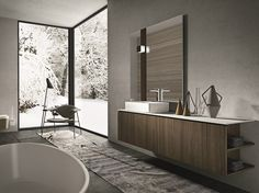 Wall-mounted walnut vanity unit with doors GIUNONE 351 by Edoné by Agorà Group design Marco Bortolin