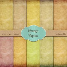 Grunge Digital Paper: Grunge Papers stained by Lunabludesign