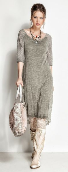 Soft gray textures in a flowing dress by Elisa Cavaletti