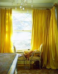 I LOVE these yellow drapes! Paralyzed by the prosect of choosing curtains and drapes? This quick primer will give you the know-how to find the right window treatments for every spot in your home. Silk Curtains, Yellow Curtains, Colorful Curtains, Window Curtains, Bright Curtains, Drapery, Ceiling Curtains, Corner Curtains, Bedroom Drapes