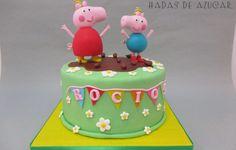 TARTA PEPPA PIG Y GEORGE JUGANDO EN EL BARRO  HADAS DE AZUCAR GUADALAJARA / PEPPA PIG AND GEORGE PLAYING IN THE MOOD FONDANT BIRHTDAY CAKE