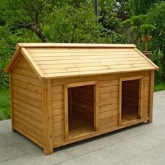 DIY Dog House Design Plans And if it was made a bit bigger  for a     Wood Double Dog Kennel   Outdoor Large Dog House for Two