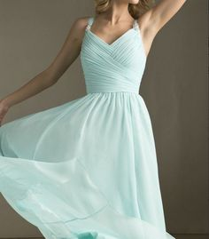 Tiffany Blue Bridesmaid Dress Long Dress with straps Chiffon A-line  Chiffon  Prom Dresses on Etsy, $99.00