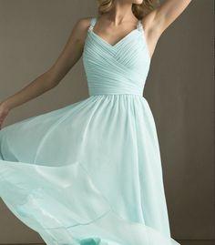 Tiffany Blue Bridesmaid Dress Long Dress with straps Chiffon A-line  Chiffon  Prom Dresses on Etsy, $99.00