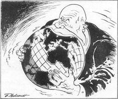 dit is een spotprent uit de Russische revolutie. ik denk dat er met deze afbeelding aangegeven wordt dat de Russische revolutie moet stoppen. de man die in de wereldbol bijt zit met zijn mond over Rusland. om aan te geven hoe Rusland word verscheurt door de burgeroorlog.