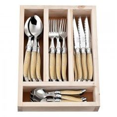 24 Piece Light Horn Laguiole By Jean Neron Cutlery Set