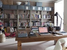 Lighting up the shelving unit - nice idea. The desk seems to be ordered chaos.
