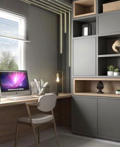 20 modern home office design ideas 00009 Home Office Space, Home Office Decor, Desk Office, Office Ideas, Office Interior Design, Office Interiors, Modern Home Offices, Study Room Design, Boy Room