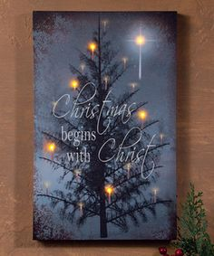 'Christmas Begins With' Light-Up Canvas