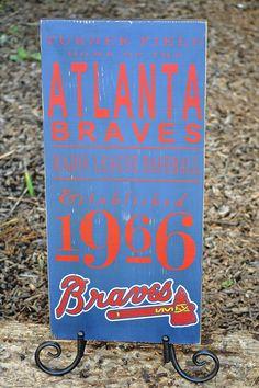 Atlanta Braves baseball distressed wood sign - Established 1966