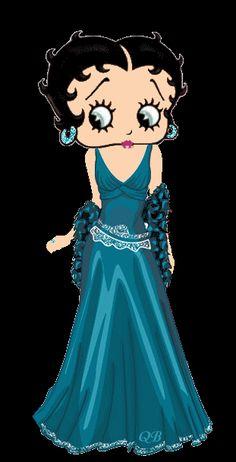 Betty Boop in glamorous blue gown. Glitter earrings #gif by QB