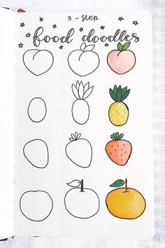 If you're changing up your theme or just want to add some decoration to your spreads this month, check out these super fun step by step food themed doodle tutorials to try in your bullet journal! Bullet Journal Lettering Ideas, Easy Doodle Art, Easy Drawings, Draw, Food Doodles, Diy, Easy Doodles Drawings, Mini Drawings, Art Journal