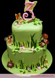 Garden Fairy Themed 3rd Birthday Cake | http://blog.pinkcakebox.com/fairy-themed-birthday-cake-2009-04-21.htm