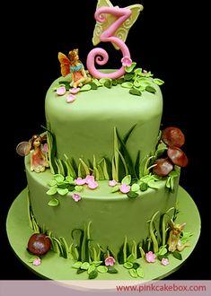 Garden Fairy Themed 3rd Birthday Cake | http://blog.pinkcakebox.com/fairy-themed-birthday-cake-2009-04-21.htm