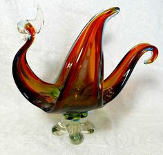Vintage Large Murano Glass Abstract Bird Bowl Seguso Sommerso