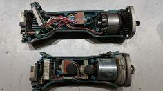 Detalle del interior de dos amoladoras de batería Makita.
