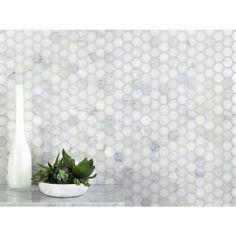 Hexagon Tile Bathroom, Carrara Marble Bathroom, White Marble Bathrooms, Marble Mosaic, Hexagon Backsplash, Modern Bathroom Tile, Marble Showers, Master Bathroom, Bathroom Ideas