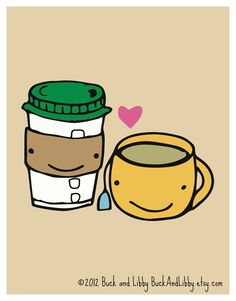 Coffee Loves Tea 85 x 11 Illustration Print by by BuckAndLibby