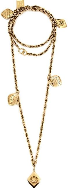 Chanel Vintage sautoir diamond and coin charm necklace