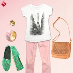 casual look: TOMS+colored jeans+T-shirt.