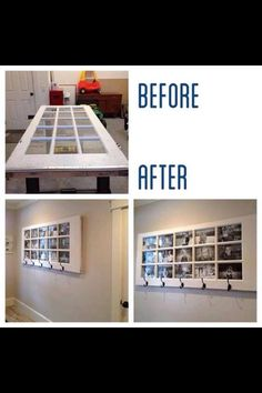 Up-cycled door frame - turned - photo frame and clothes hook