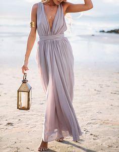 Vestido largo cuello V-violeta clara 27.58