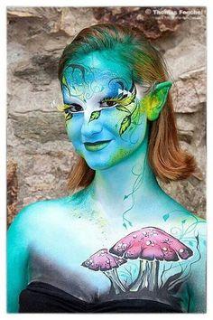 Airbrush, Fae Face, Extreme Makeup, Fantasy Make Up, Face Paint Makeup, Special Makeup, Face Painting Designs, Mermaid Makeup, Hand Art