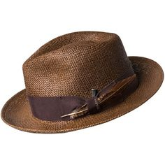 """The Bailey of Hollywood Outen LiteStraw® is made with Toyo LiteStraw® that is supple, shape retentive, and water repellent. This stylish spring and summer fedora has a 2 3/8"""" snap brim, a teardrop crown, and a Dri-Lex® sweatband. The highlight of the Outen is the Japanese grosgrain trim with a vintage flooring nail and a removable feather. Part of the Bailey of Hollywood Poet collection, the Outen is tough, comfortable, and rooted in masculine confidence. Made in the U.S.A. of Glob..."""