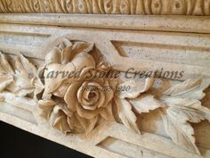 Our artisans can achieve an incredible amount of detail with their carving skills. Check out this gorgeous flower carved into a travertine fireplace mantel! #Flower #Fireplace #Stone #Travertine
