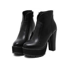 SheIn(sheinside) Black Zipper Pierced Chunky Heel Boots (46,905 KRW) ❤ liked on Polyvore featuring shoes, boots, black, chunky platform boots, chunky-heel boots, chunky boots, short winter boots and black high heel boots